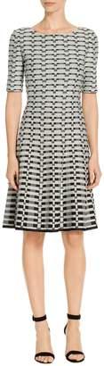 St. John Textural Grid Knit Fit & Flare Dress
