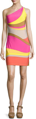 Trina Turk Faraway One-Shoulder Abstract Jersey Dress, Multicolor $248 thestylecure.com