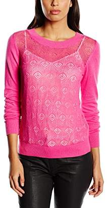 Mexx Women's Plain Crew Neck Long Sleeve Long-Sleeved Top Pink Rosa (Raspberry Rose 676)