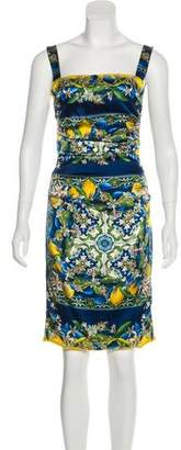 Dolce & Gabbana Silk Mosaic Lemon Print Dress