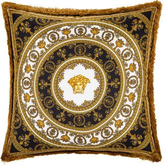 Versace I Love Baroque Silk Cushion - 50x50cm - Black/White/Gold