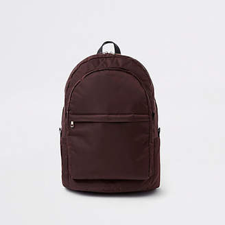 River Island Red front pocket quilted backpack