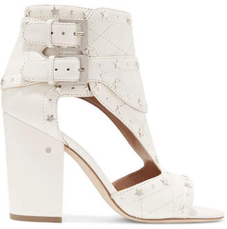 Laurence Dacade - Rush Studded Quilted Leather Sandals - Off-white $930 thestylecure.com