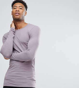 Asos DESIGN Tall longline long sleevet-shirt with crew neck in purple