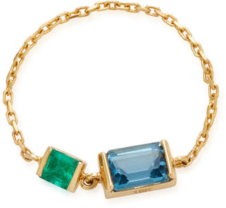 Yi Collection 18K Gold Emerald And Topaz Chain Ring