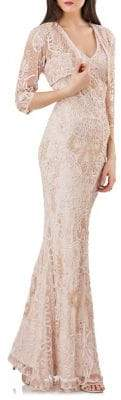 JS Collections Embroidered Lace Long Gown & Bolero
