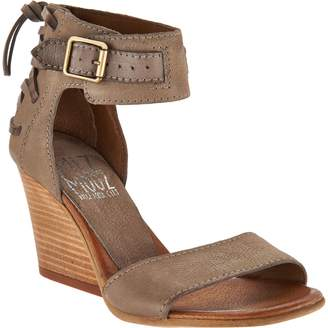 Miz Mooz Leather Wedges with Buckle and Tie Detail - Kiani
