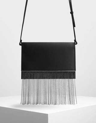 Charles & Keith Chain Fringe Detail Clutch
