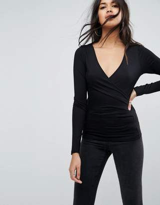 Asos DESIGN Long Sleeved Wrap Front Top