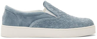 Bottega Veneta Blue Suede Intrecciato Dodger Slip-On Sneakers