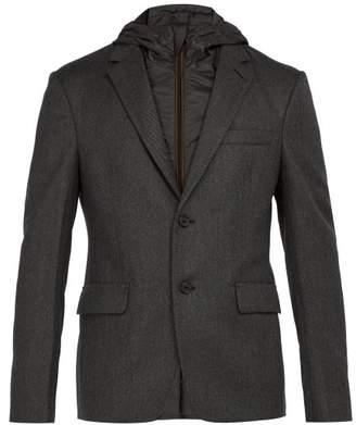 Prada Detachable Hood Wool Blazer - Mens - Dark Grey