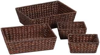 Household Essentials ML-6695B Set of 4 Wicker Storage Baskets - Dark