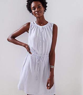 LOFT Striped Sleeveless Shirtdress