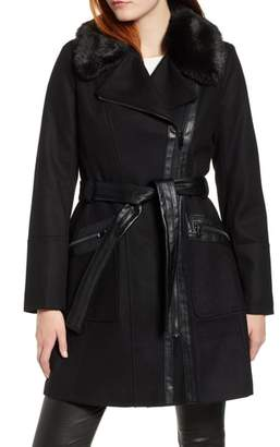 Via Spiga Faux Fur Trim Belted Jacket