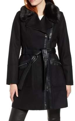 Via Spiga Faux Fur Trim Belted Jacket