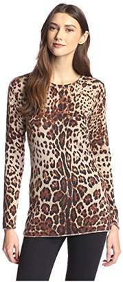 James & Erin Women's Cashmere Leopard Print Tunic