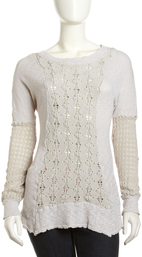 XCVI Mixed-Knit Tunic Sweater, Quartz