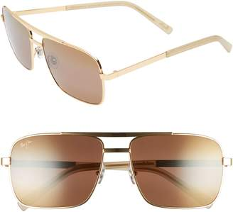 Maui Jim Compass 60mm Polarized Aviator Sunglasses