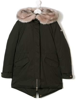Treapi TEEN trimmed hooded coat