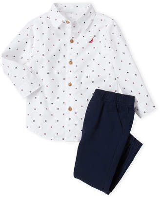 Nautica Toddler Boys) Two-Piece Printed Woven Shirt & Joggers Set