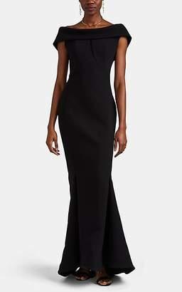 Zac Posen Women's Drape-Neck Bonded Crepe Gown - Black