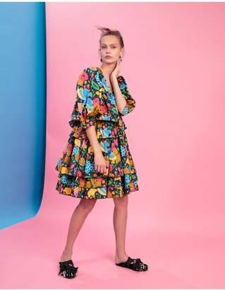 Dragon Optical La Doublej Big Mama Dress Flower Turchese In Cotton