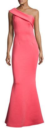 Jovani One-Shoulder Scuba Mermaid Gown, Watermelon $560 thestylecure.com