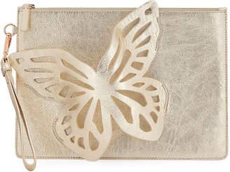 Sophia Webster Flossy Butterfly Metallic Leather Pochette Clutch Bag
