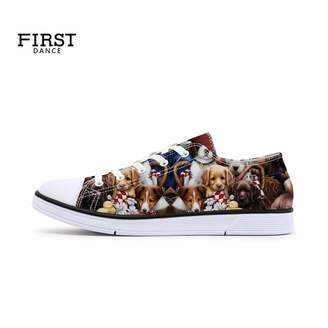 FIRST DANCE Shoes for Women 2019 Spring Shoes Animal Printed Cat Sneakers Shoes for Ladies Low Top Shoes Cute Dog Print Shoes 10US