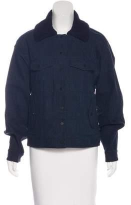 Jen Kao Denim Leather-Trimmed Jacket
