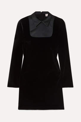 RED Valentino Satin-trimmed Velvet Mini Dress - Black