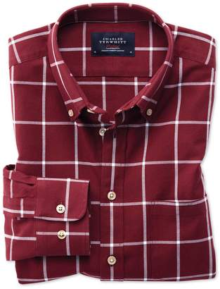 Charles Tyrwhitt Extra Slim Fit Button-Down Washed Oxford Burgundy and White Check Cotton Casual Shirt Single Cuff Size Medium