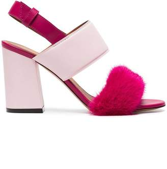 Givenchy Pink Paris 90 Fur Block Heel Sandals