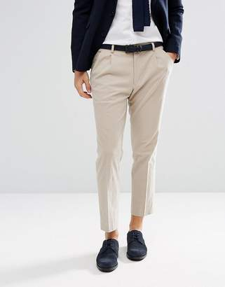 Asos Design Wedding Skinny Crop Smart Trousers In Stone Textured Linen Blend