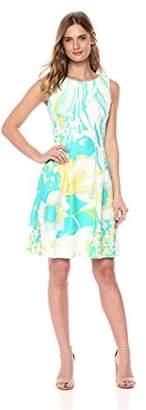 Gabby Skye Women's Floral Pleated Dress