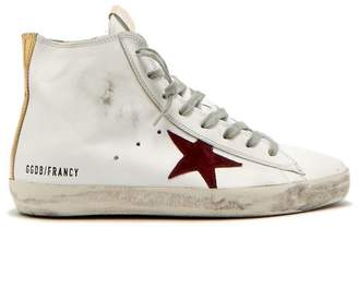Golden Goose Francy Leather High Top Trainers - Womens - Burgundy White