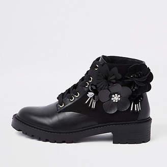 River Island Black floral embellished lace-up boots