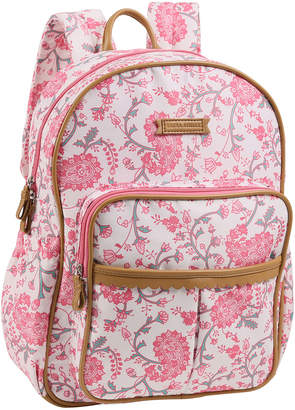 Laura Ashley Paisley Scalloped Microfiber Backpack w\/ Pouch