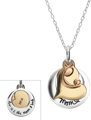"Love You To The Moon & Back Sterling Silver Tri-Tone Motherly Love ""Mom"" Heart Charm Pendant"