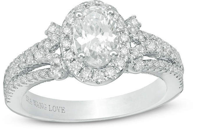Zales Vera Wang Love Collection 1-1/2 CT. T.W. Oval Diamond Frame Engagement Ring in 14K White Gold
