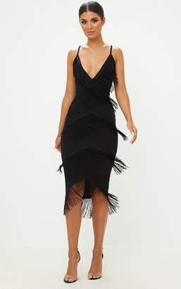 PrettyLittleThing Black Strappy Tassel Longline Midi Dress