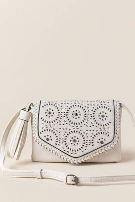 francesca's Addie Perforated Stud Crossbody - White