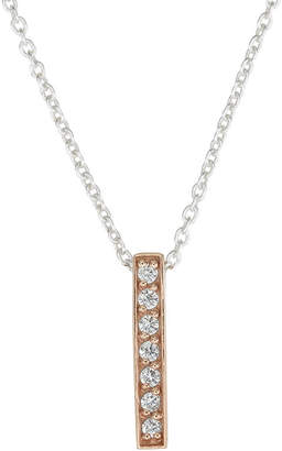 Footnotes Cz Bar Womens Clear Cubic Zirconia Sterling Silver Pendant Necklace