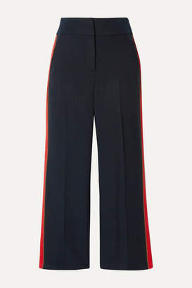 Veronica Beard Cormac Cropped Grosgrain-trimmed Herringbone Woven Wide-leg Pants - Midnight blue