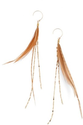 Women's Serefina Glistening Feather Drop Earrings $75 thestylecure.com