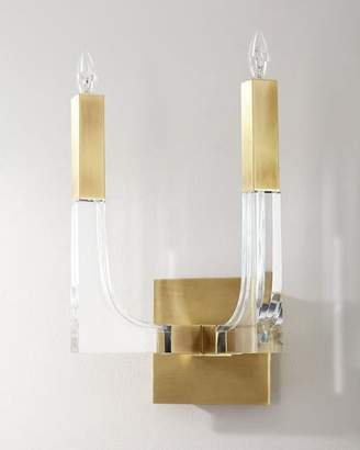 John-Richard Collection Acrylic and Brass Double-Light Wall Sconce