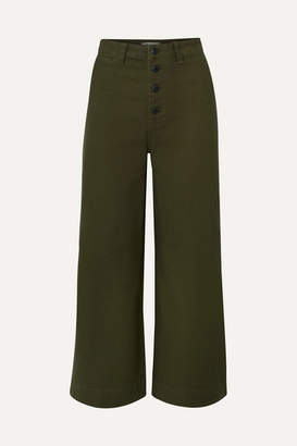 Madewell Emmett Stretch-cotton Canvas Wide-leg Pants - Army green