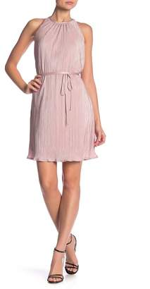 Rachel Roy Pleated Tie Waist Mini Dress