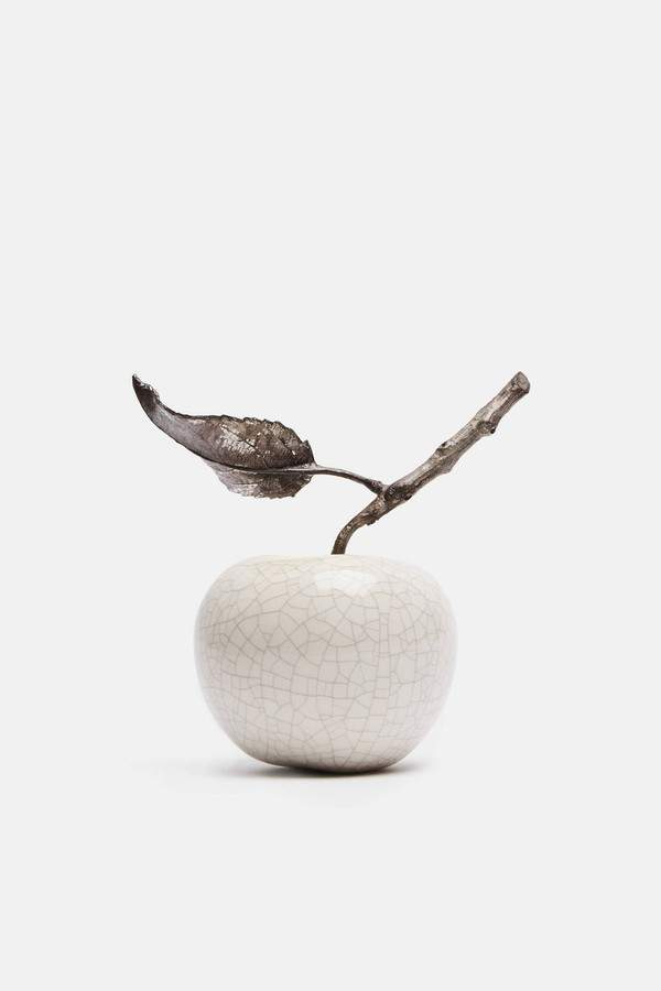 Penkridge Ceramics Penkridge Ceramics Apple With Twig And Leaf Crackle Glaze