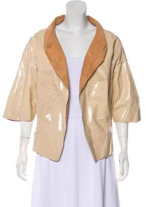 Marni Patent Leather Three-Quarter Sleeve Jacket